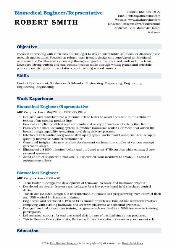Biomedical Engineer/Reprsentative Resume Sample