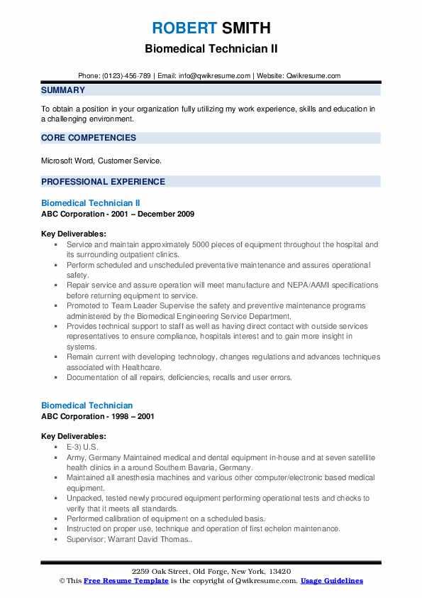 Biomedical Technician II Resume Sample