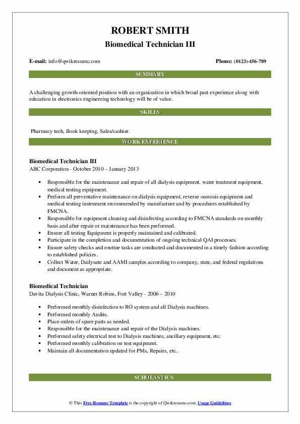 Biomedical Technician Resume Samples Qwikresume