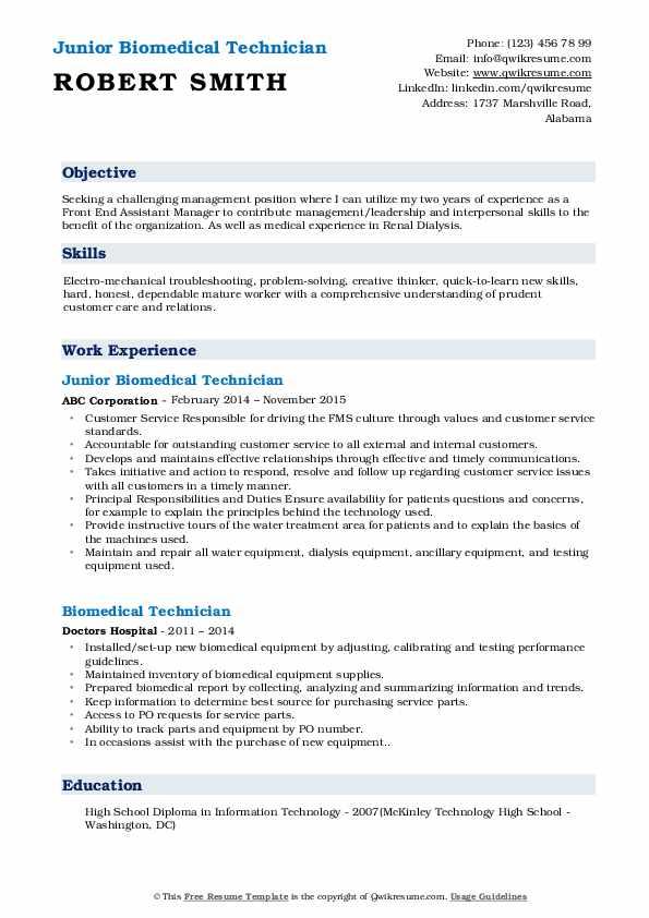 Junior Biomedical Technician Resume Sample