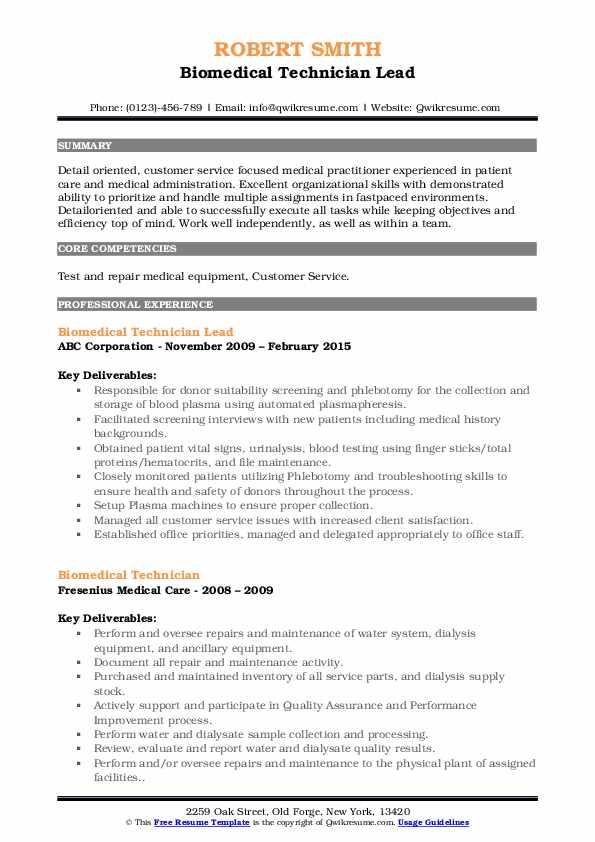 Biomedical Technician Lead Resume Sample