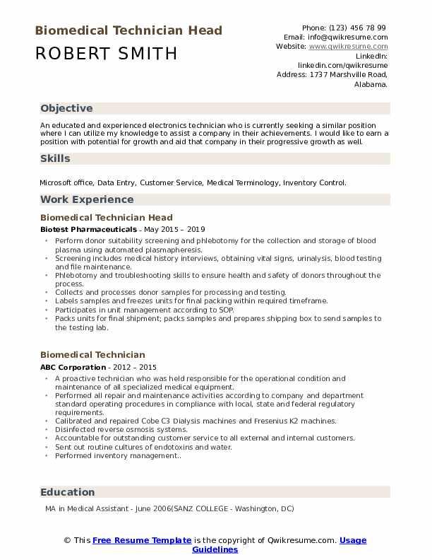 Biomedical Technician Head Resume Model