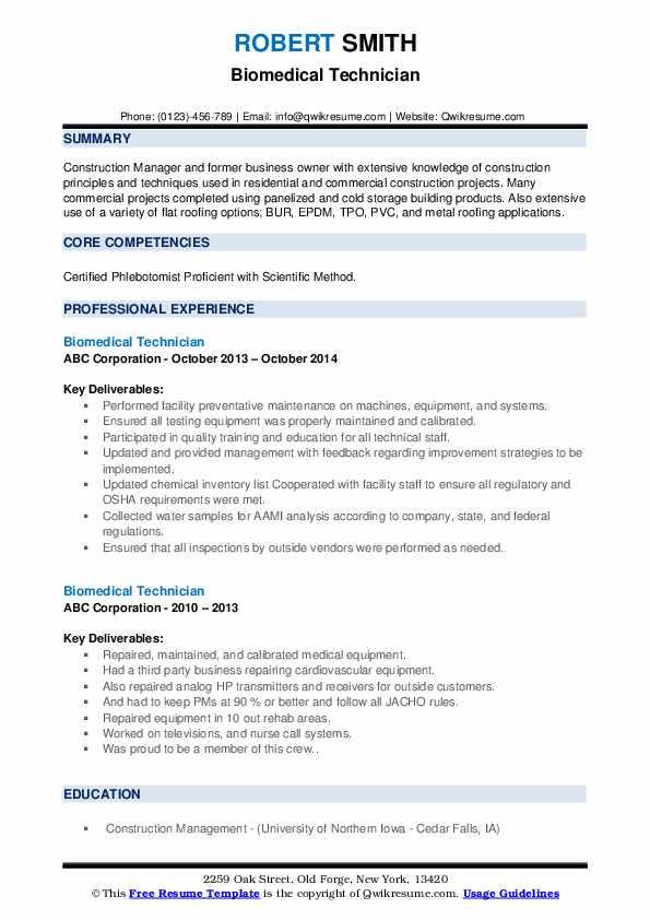 biomedical technician resume samples