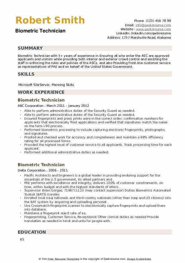 Biometric Technician Resume example