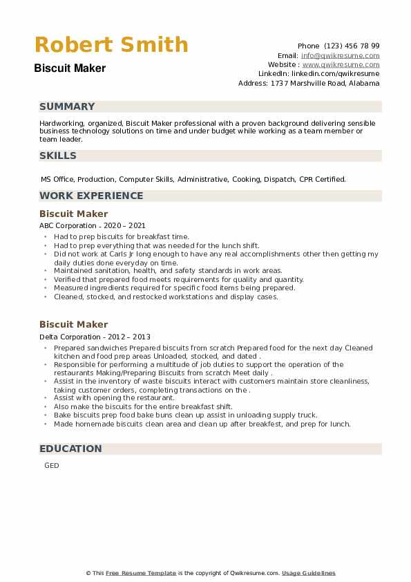 Biscuit Maker Resume example