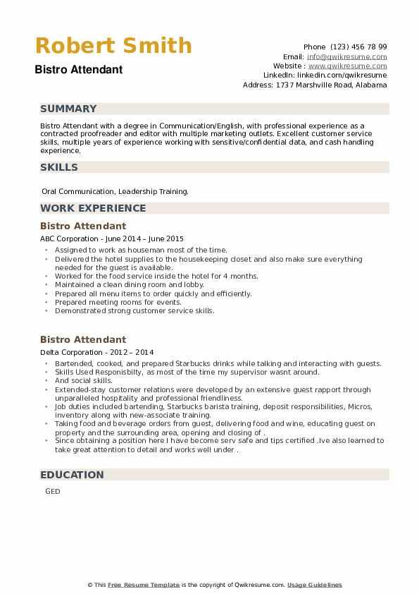 Bistro Attendant Resume example
