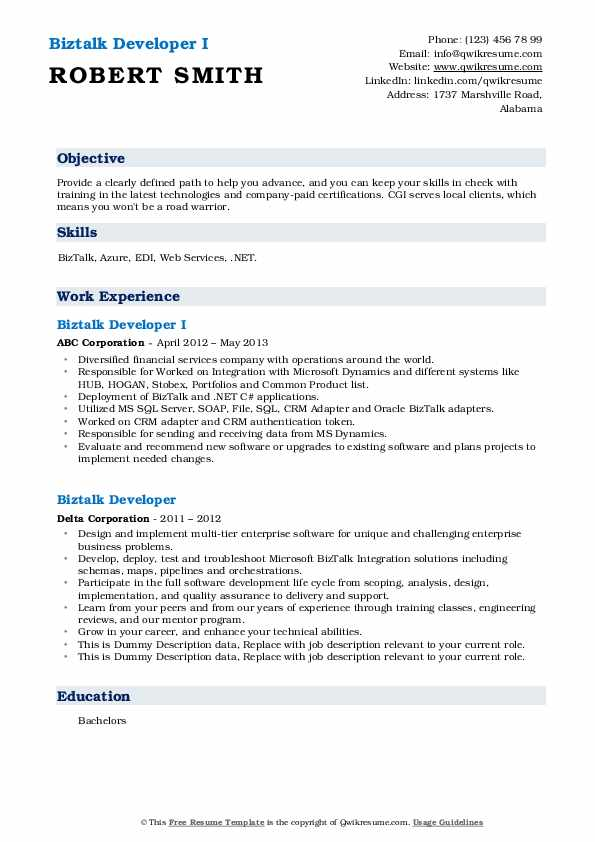 Biztalk server developer resume how to write a table of contents
