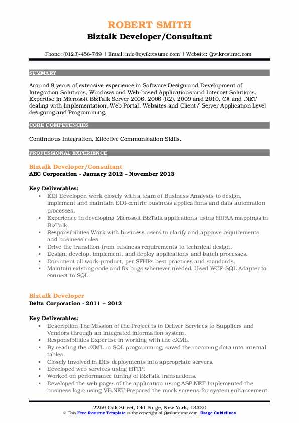 biztalk server developer resume
