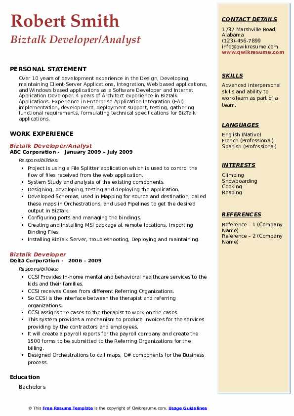 Biztalk Developer Resume example