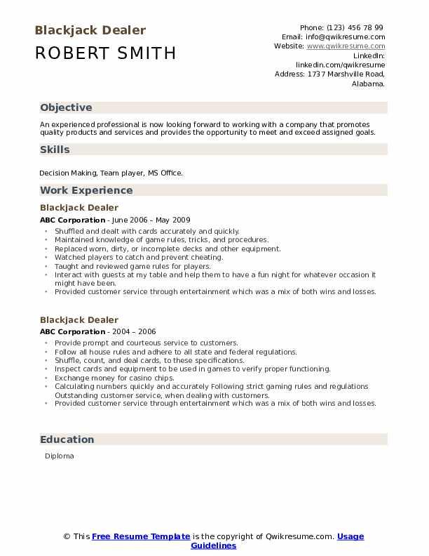 Blackjack Dealer Resume example