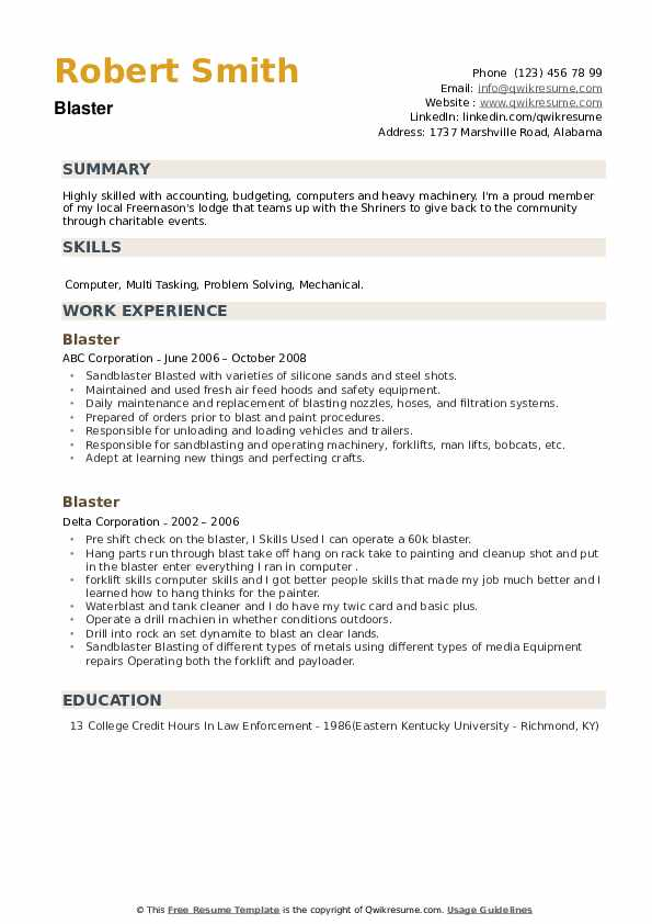 Blaster Resume example