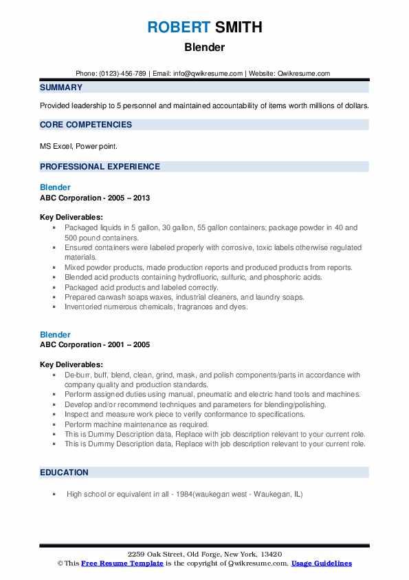 Blender Resume example