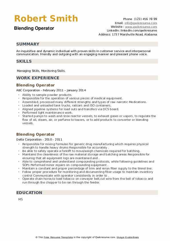 Blending Operator Resume example