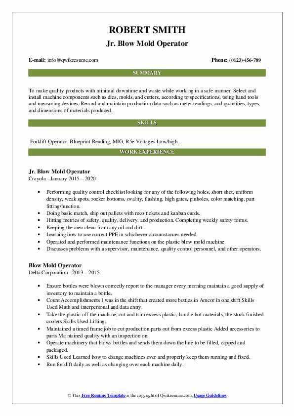 blow mold operator resume samples  qwikresume