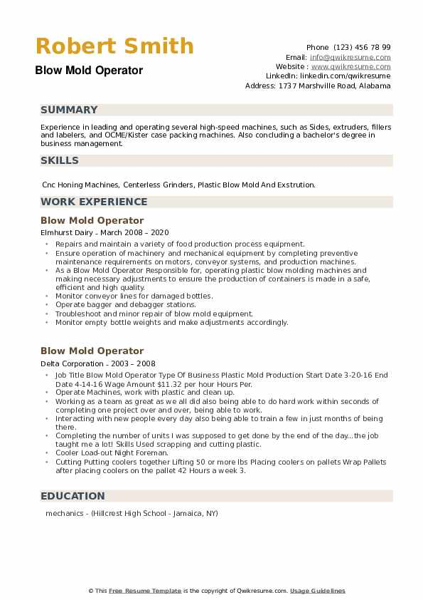 Blow Mold Operator Resume example