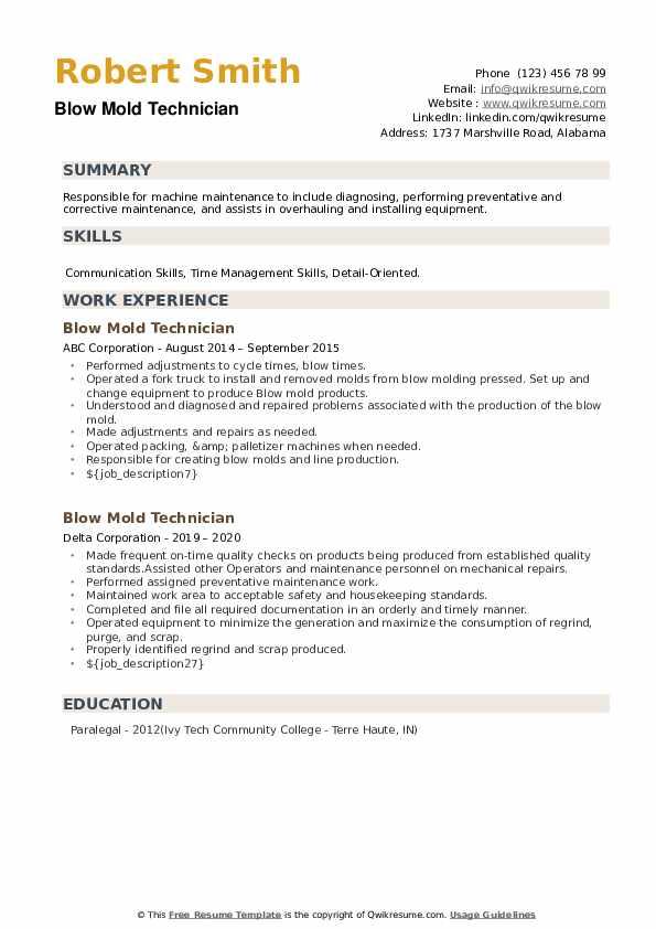 Blow Mold Technician Resume example