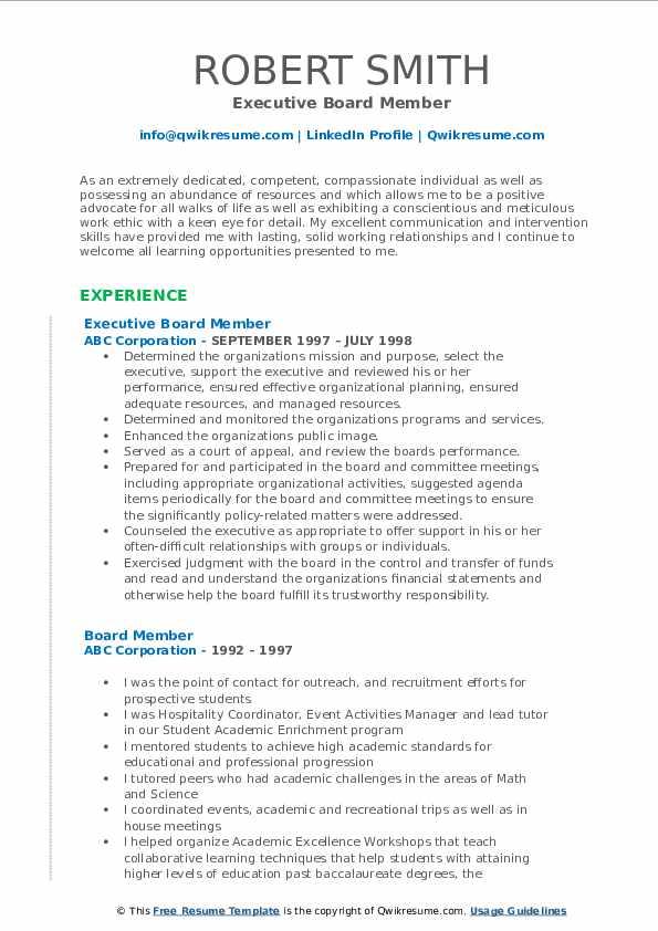 Executive Board Member Resume Format