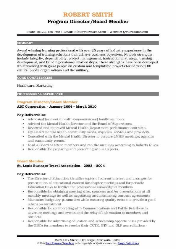 Program Director/Board Member Resume Example