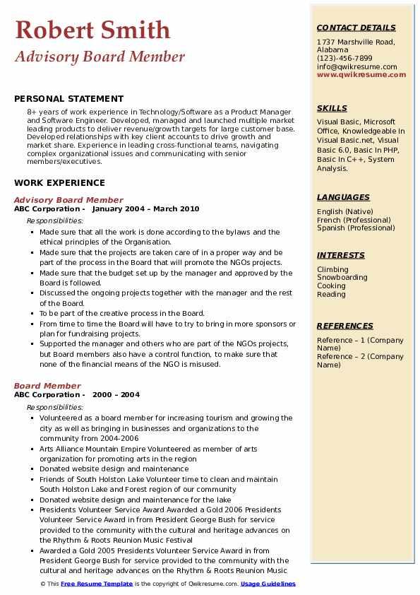 Advisory Board Member Resume Model
