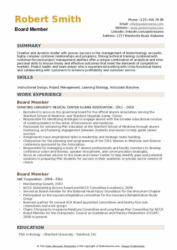 Board Member Resume example