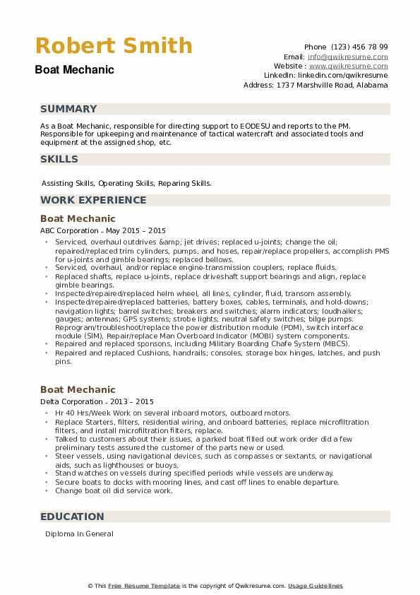 Boat Mechanic Resume example