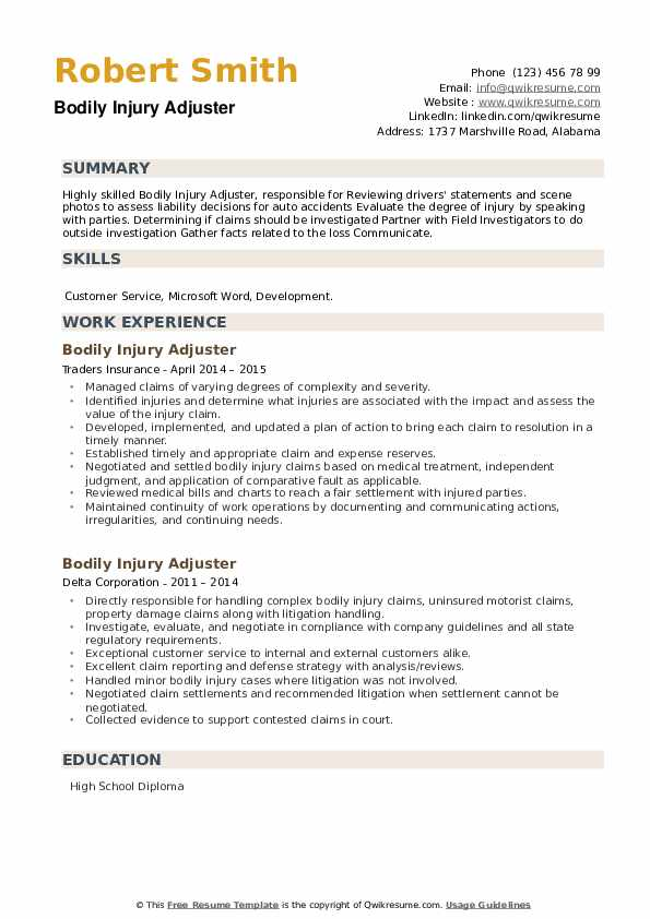 Bodily Injury Adjuster Resume example