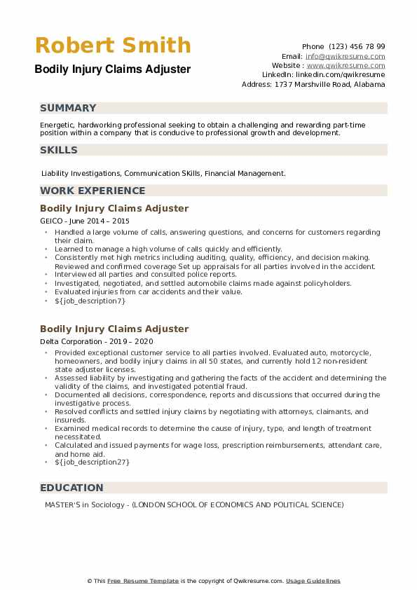 Bodily Injury Claims Adjuster Resume example