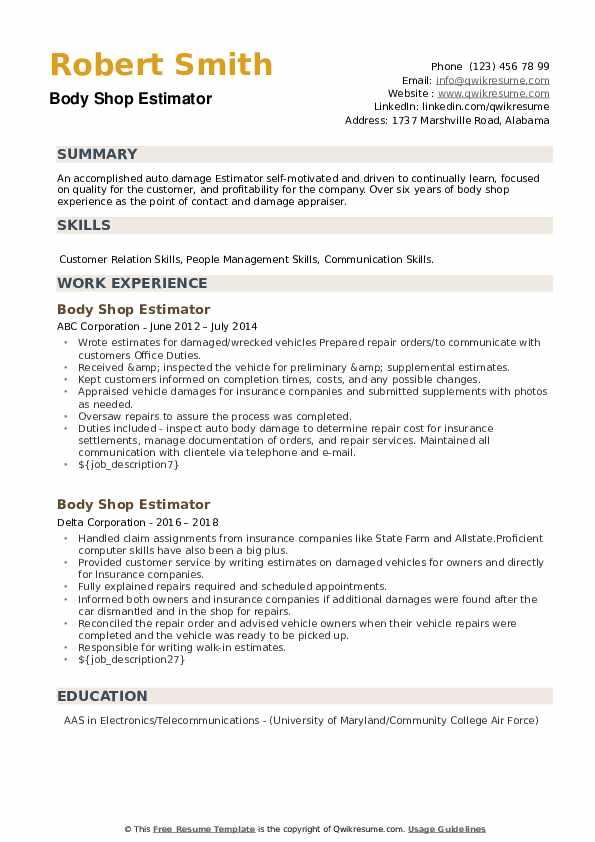 Body Shop Estimator Resume example