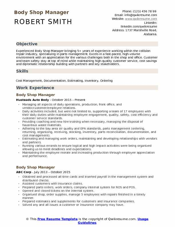 Body Shop Manager Resume Template