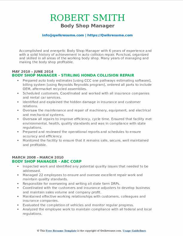 Body Shop Manager Resume Model
