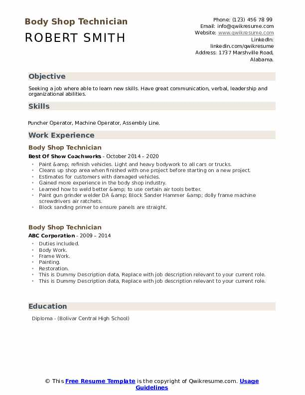 Body Shop Technician Resume example