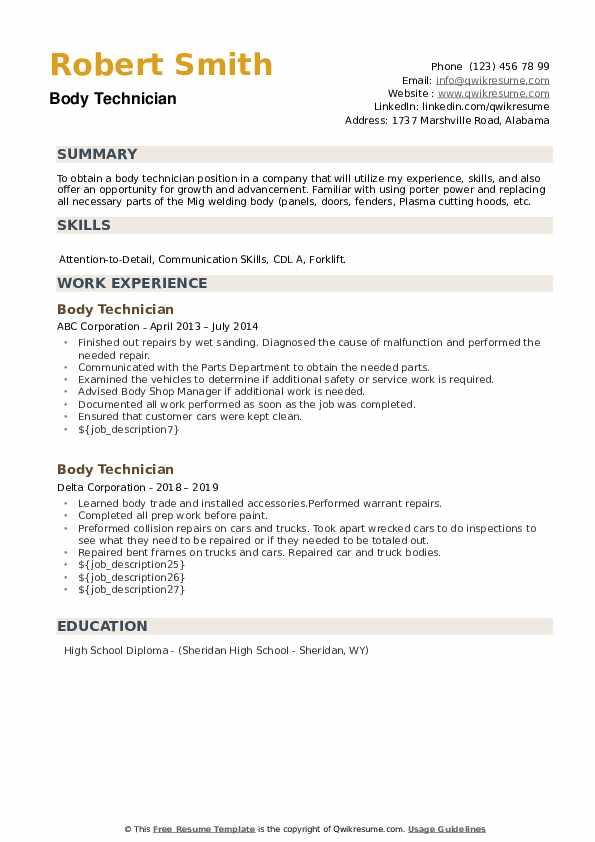 Body Technician Resume example