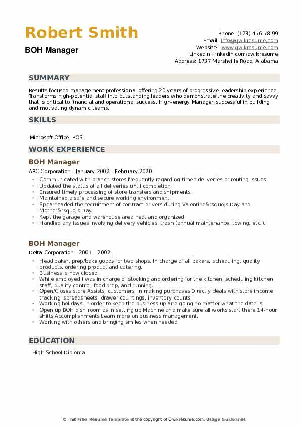BOH Manager Resume example