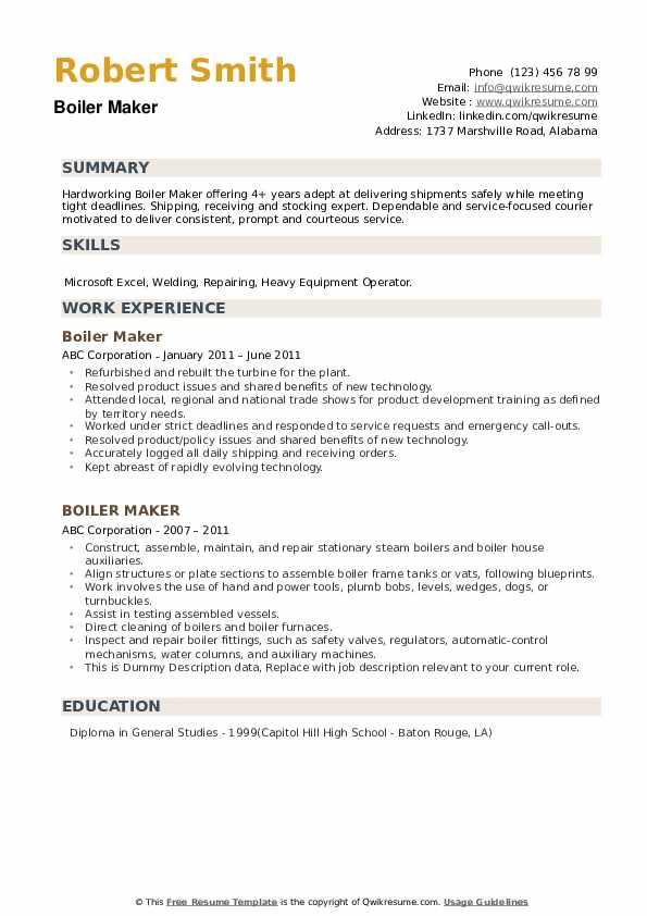 Boiler Maker Resume example