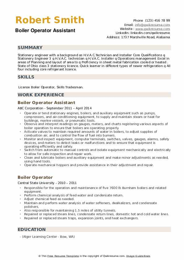 Boiler Operator Assistant  Resume Example