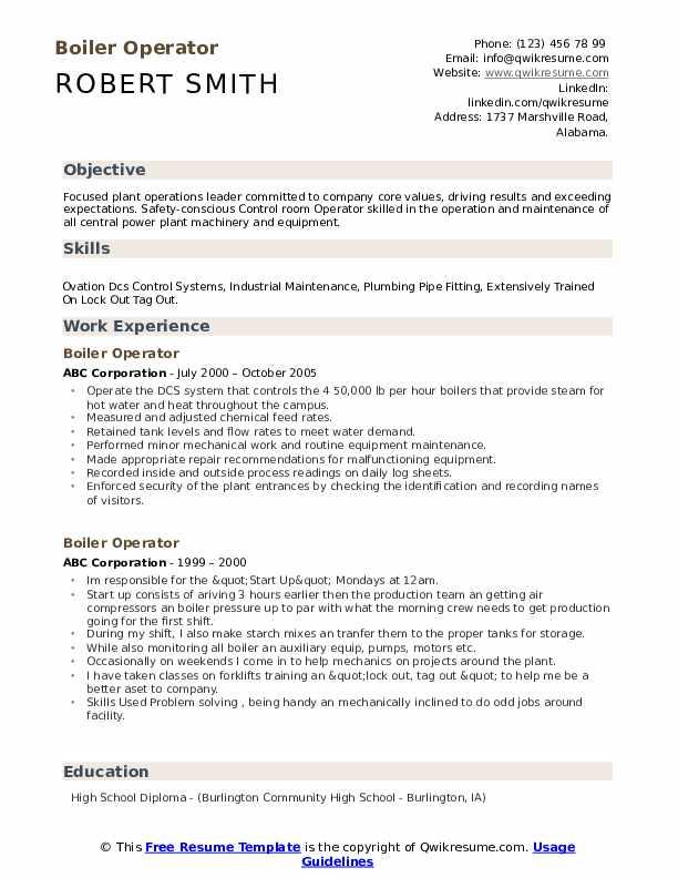 Boiler Operator Resume example