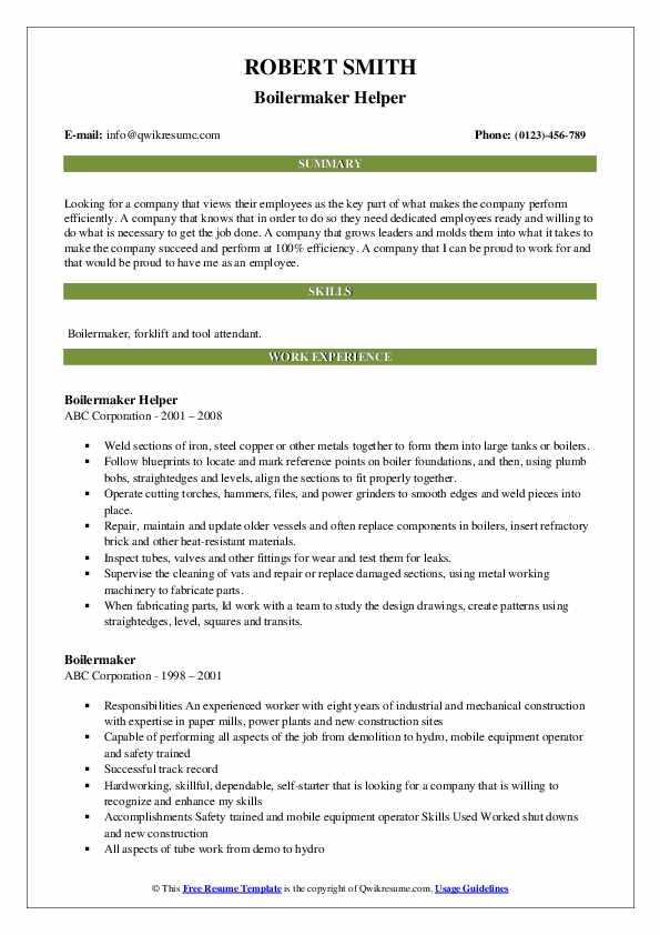 Boilermaker Helper Resume Format