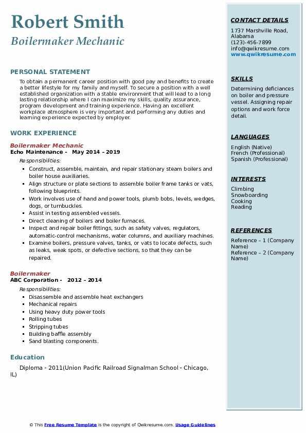 resume for boilermaker