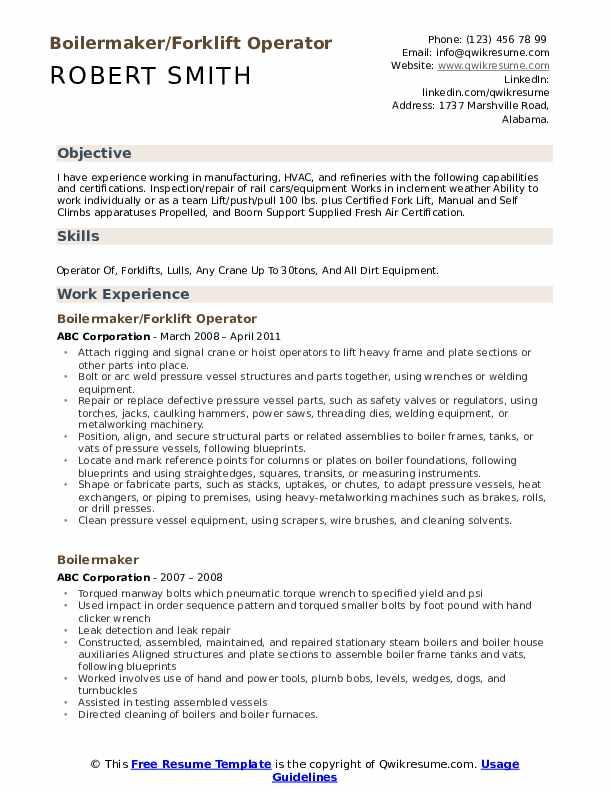 Boilermaker/Forklift Operator Resume Example