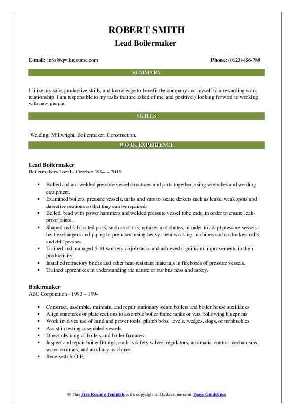 Lead Boilermaker  Resume Format