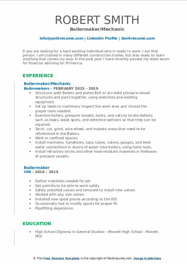 Boilermaker/Mechanic Resume Template
