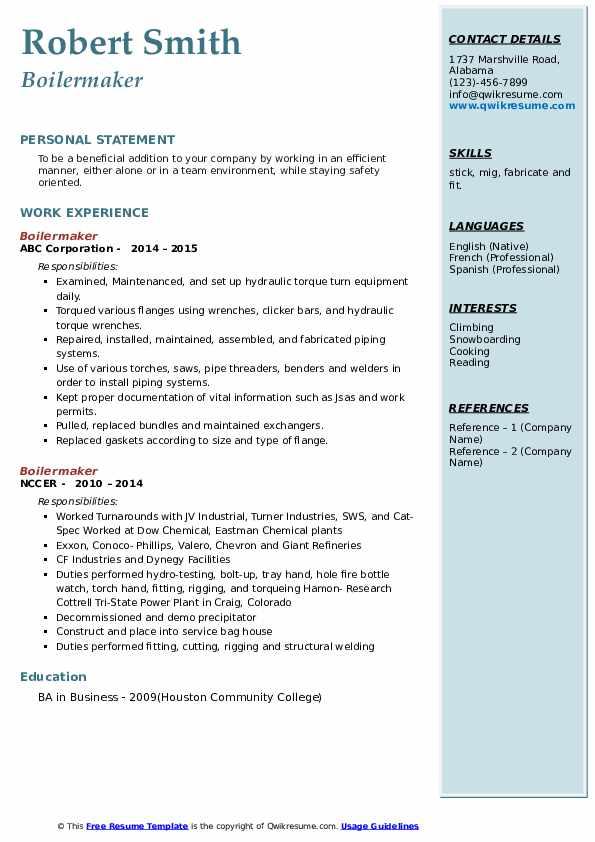 boilermaker resume samples