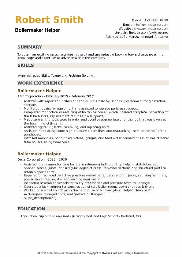 Boilermaker Helper Resume example
