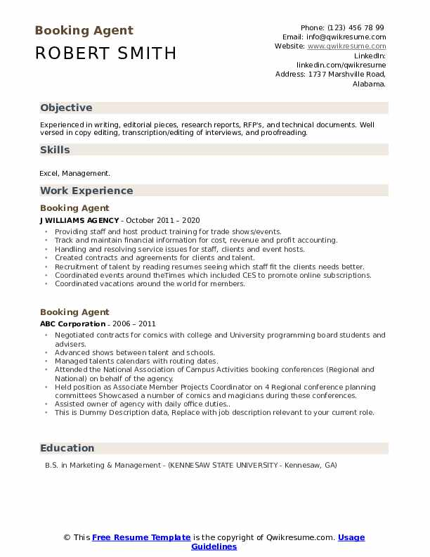 Booking Agent Resume example