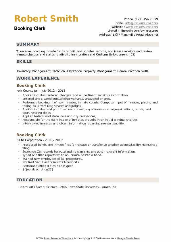 Booking Clerk Resume example