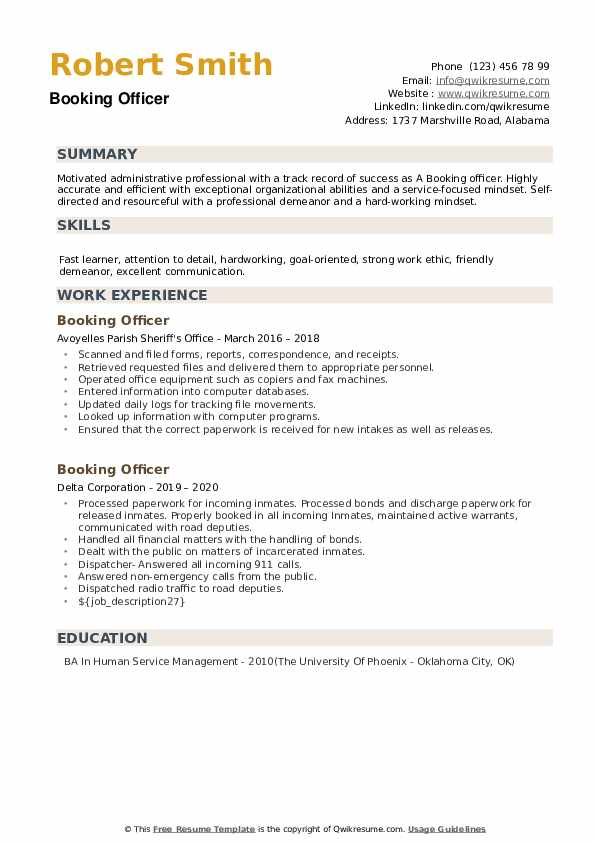 Booking Officer Resume example