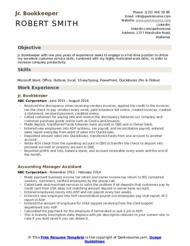 Jr. Bookkeeper Resume Model