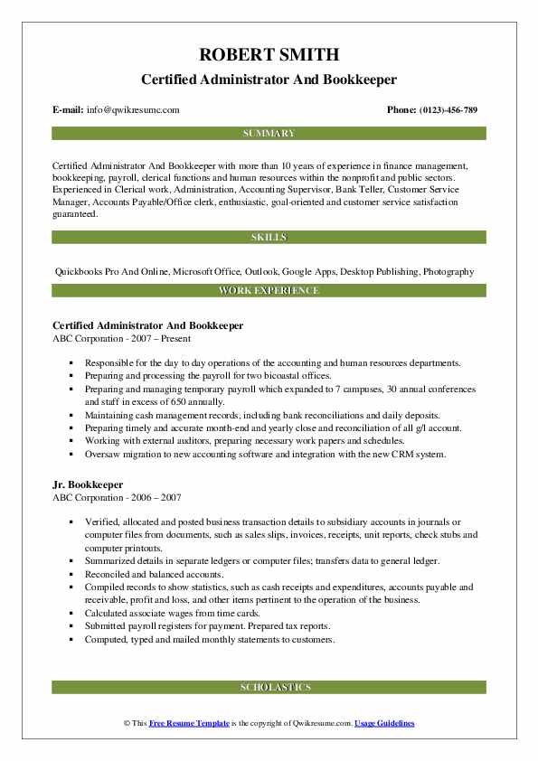 Certified Administrator And Bookkeeper Resume Template