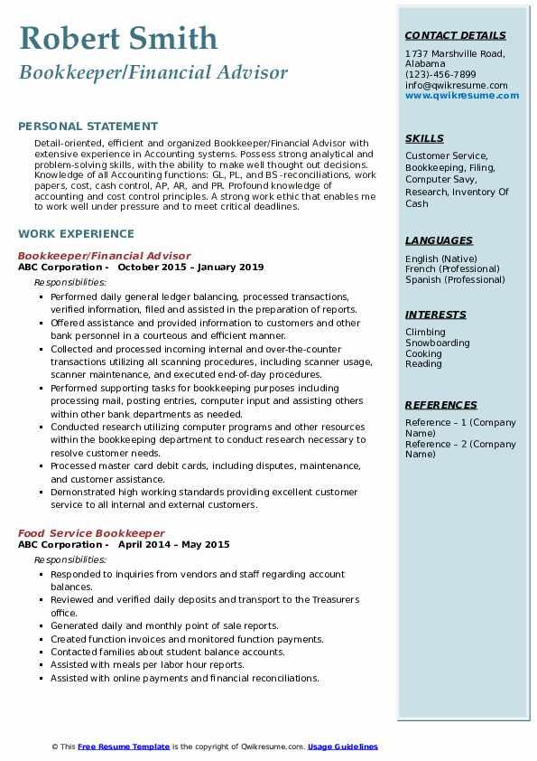 Bookkeeper/Financial Advisor Resume Model
