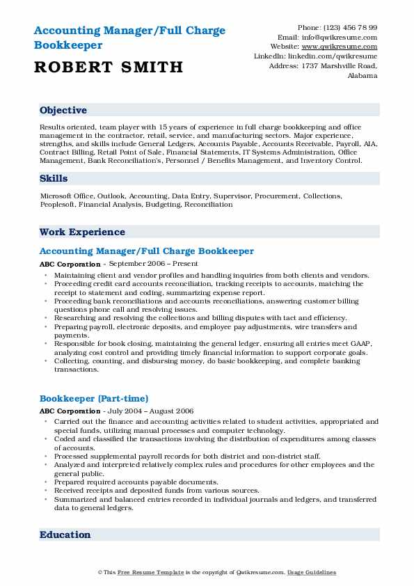 Accounting Manager/Full Charge Bookkeeper Resume Format